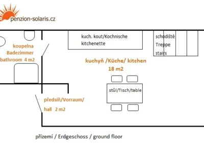 Jizerské hory ubytování penzion Solaris - apartmán č.5 půdorys přízemí